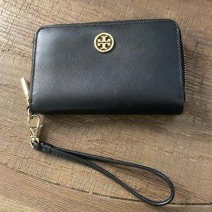 Tory Burch Robinson black and gold accent wristlet